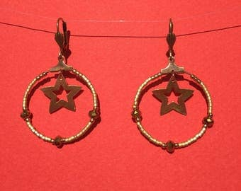 Bronze hoop earrings with star