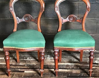 Pair of Victorian Balloon Back dining Chairs