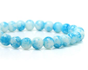 Round glass beads, blue Crackle white background - 8 mm -