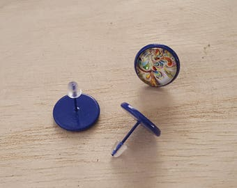 medium 12mm blue chip earrings