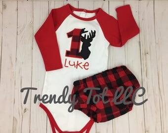 Boy First Birthday Deer Outfit, Deer Cake Smash Set, Wilderness Birthday, Lumberjack Birthday, Trendy Tot, Boys 1st Birthday, Birthday Hat
