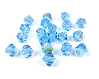 20 x AQUAMARINE AB  Swarovski® 6mm bicone beads