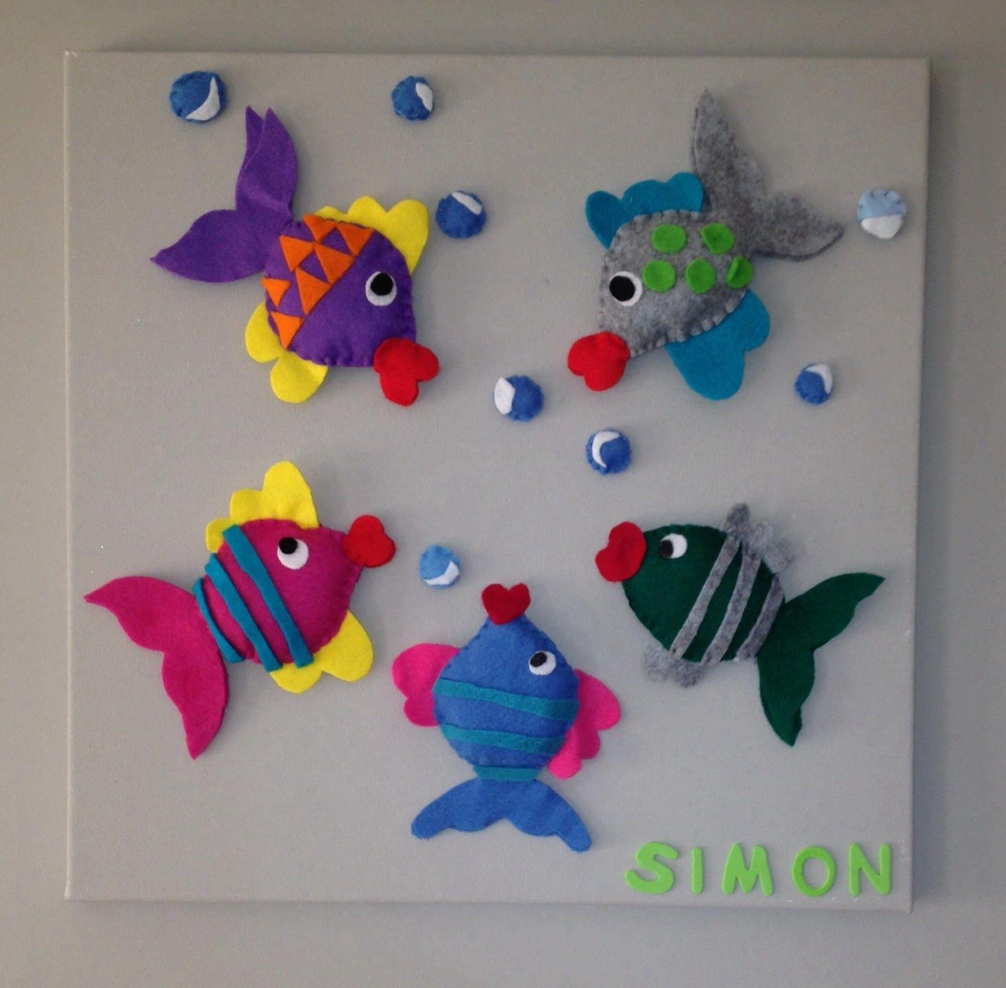 Déco chambre enfant Cadre avec poissons colorés