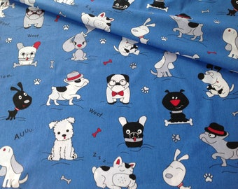 100% cotton fabric printed with funny dogs