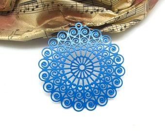 1 pendant rose filigree Fine Ultramarine - 45 mm
