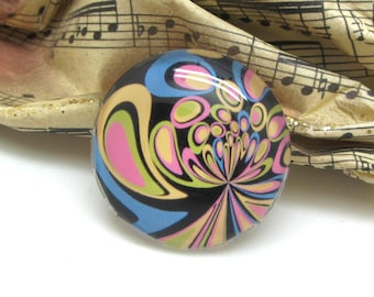2 cabochons 16 mm glass Retro psychedelic lavender and pink - 16 mm