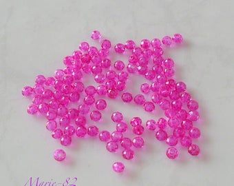 Faceted glass beads - 3 X 2 mm Fuchsia 90