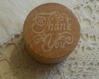 "Wooden stamp / message ""Thank you"" ink"