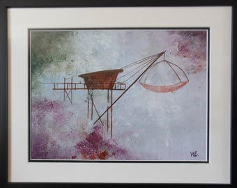 Fisherman dreams, acrylic on paper, framed size 50 x 60 cm
