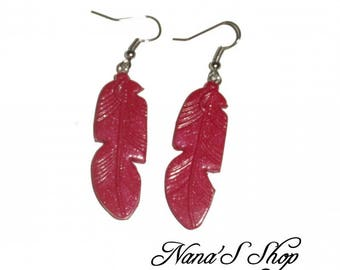 Earrings feather, red polymer clay,