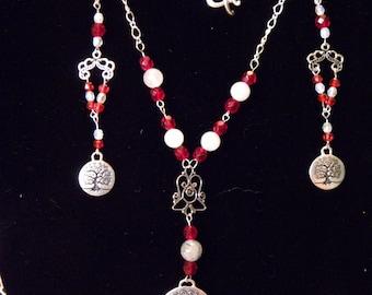 Tree of life ornament Silver and swarovski pearls