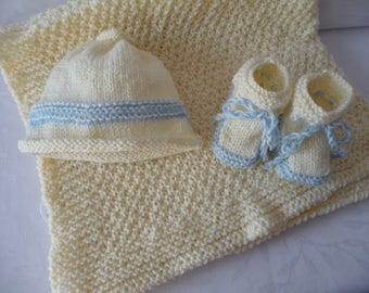 baby baby blanket/shawl set booties bonnet - butter cost/blue