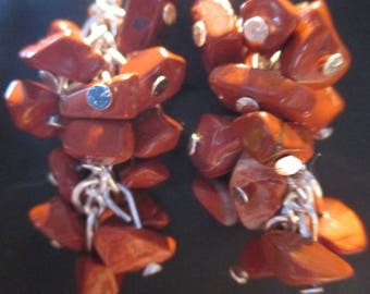 Jasper chips cluster earrings