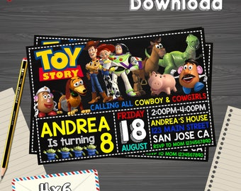 Toy story Invitation, Toy story Birthday, Toy story Party,Toy story Printable,Toy story Editable, Toy story PDF, Toy story party, Toy story