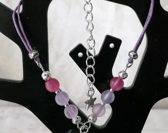 Heart Purple and silver 19cm bracelet