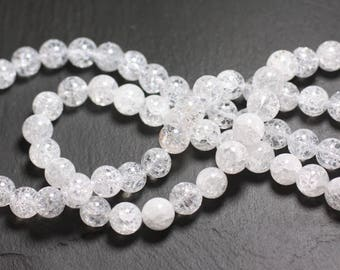 Wire 39cm 48pc env - stone beads - crystal of rock Quartz cracked balls 8 mm