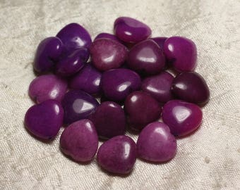 Stone - 6PC - beads Jade Purple Hearts 15mm 4558550006769