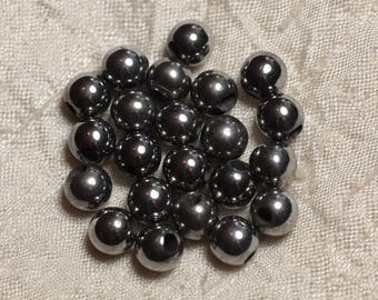 5pc - stone 2.5 mm hole beads - Hematite 8 mm 4558550027078 Rhodium