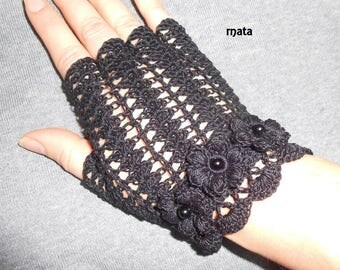 crochet black fingerless for women