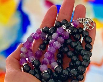 Shungite & Amethyst 108 Mala, Wrap bracelet,Mala Necklace,Buddhist Prayer Beads,Meditation,Nurturing,Calming,Compassion,Truth,EMF Protection