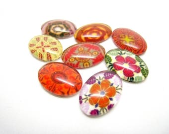 Glass 14 cabochons 8 x 10 mm all different roses, flowers