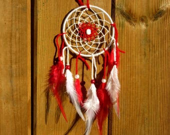 Red and white dream catcher / real 30 cm