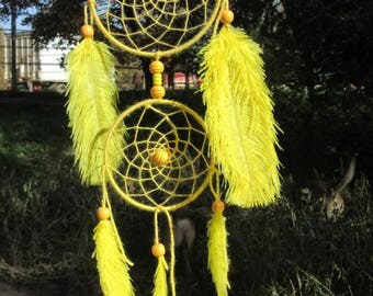 Dream catcher / yellow / ostrich feathers