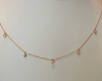 Handmade OOAK Dainty Gold Diamond Necklace