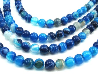 20 round natural 6 mm agate, blue beads