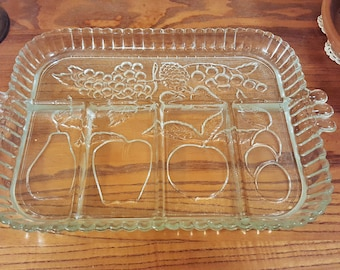 Vintage Indiana Glass relish try.  Rectangular 5 section clear glass with fruit motif.