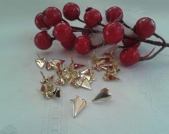 set of 20 Parisian ties golden heart shape for scrapbooking, embellishments, cardmaking