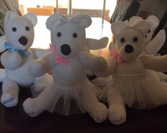 Bespoke Teddies withor without Tutus perfect for a keepsake gift for bridesmaids.Free P&P.