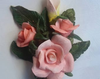 Handmade Orange Porcelain Rose Figure Capodimonte