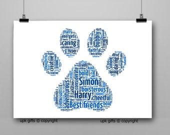 Personalised Gift Printable Word Art PAW PRINT, Birthday, Daughter, Son, Wife, Husband, Best Friend, Love,