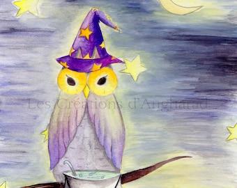 Humorous watercolor owls series: Merlin