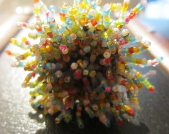 ring embroidered beads multicolored Fireworks colors