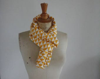 Geometric printed cotton scarf