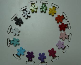 set of 15 flower pacifier clips