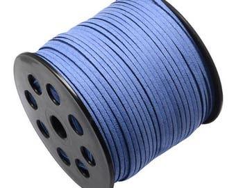 Suedine cord by the yard 3 mm royal blue