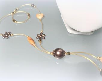 Demi-sautoir fantasy necklace