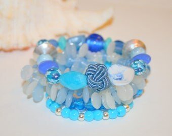 "Bracelets collection ""Blue Lagoon"" set of 4 beads"