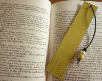 Yellow leather bookmark