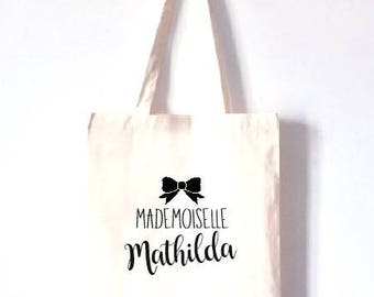 "Personalized TOTE BAG 100% cotton ""Mademoiselle"""