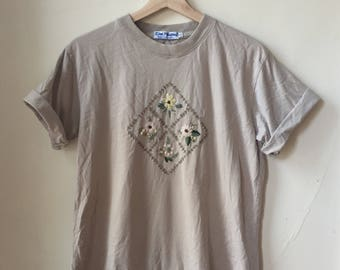 Hand Embroidered Floral Tee Large