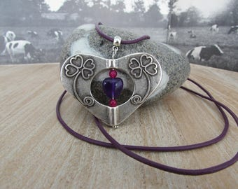 """Long necklace and pendant """"Double heart"""""""