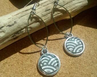 long silver tone cabochon post earring