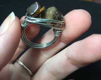 Tigers eye wire ring