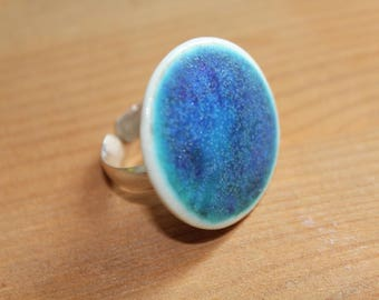 Porcelain ring Silver 925 ring