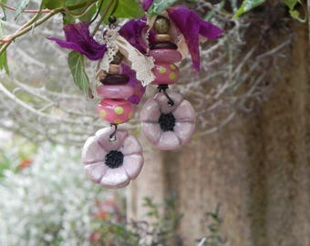 Earrings dangling beautiful flowers