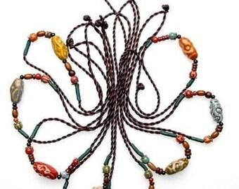 Himalayan Ceramic Bead And Hemp Cord Adjustable Necklaces